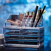 Акриловый настольный ящик-органайзер для косметики Cosmetic Organizer Storage Box