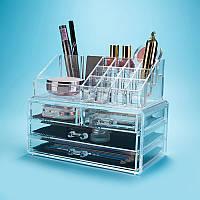Настольный акриловый ящик-органайзер для косметики Cosmetic Organizer Storage Box 24×14×19 см