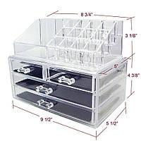 Акриловый настольный ящик-органайзер для косметики и бижутерии Cosmetic Organizer Storage Box