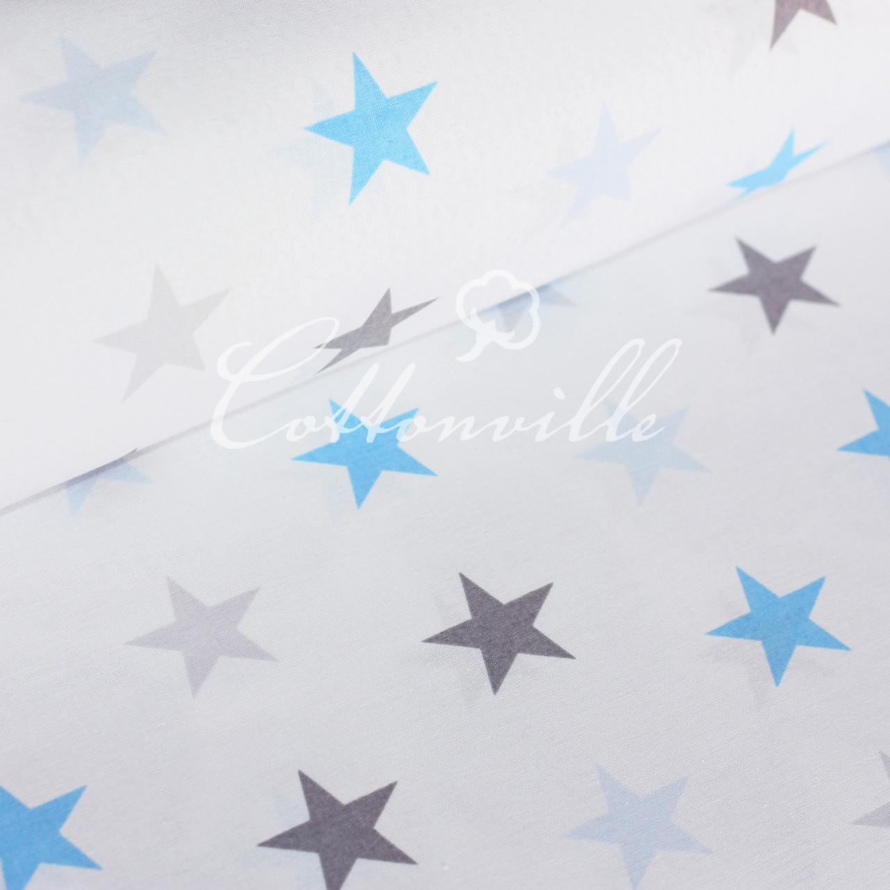 Бязь Серые голубые звезды (40 мм)