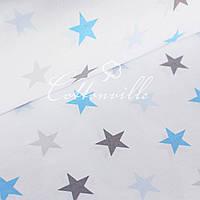 Бязь Серые голубые звезды (40 мм) , фото 1