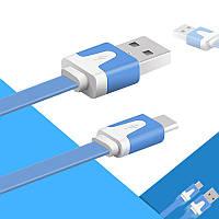 Кабель Lesko плоский microUSB/USB 1m Синий для смартфона планшета USB 2.0