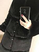 Шуба нарядная из искусственного меха под норку с декоративной отделкой репсовой лентой
