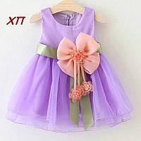 Нарядное платье  с цветком для девочки на 1-2 года, фото 1