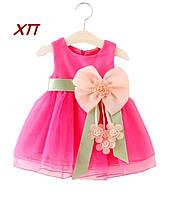 Нарядное платье  с цветком для девочки на 1-3 года, фото 1