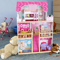 Большой кукольный деревянный домик, дом для кукол + 2 кукли в подарок Польша. 12