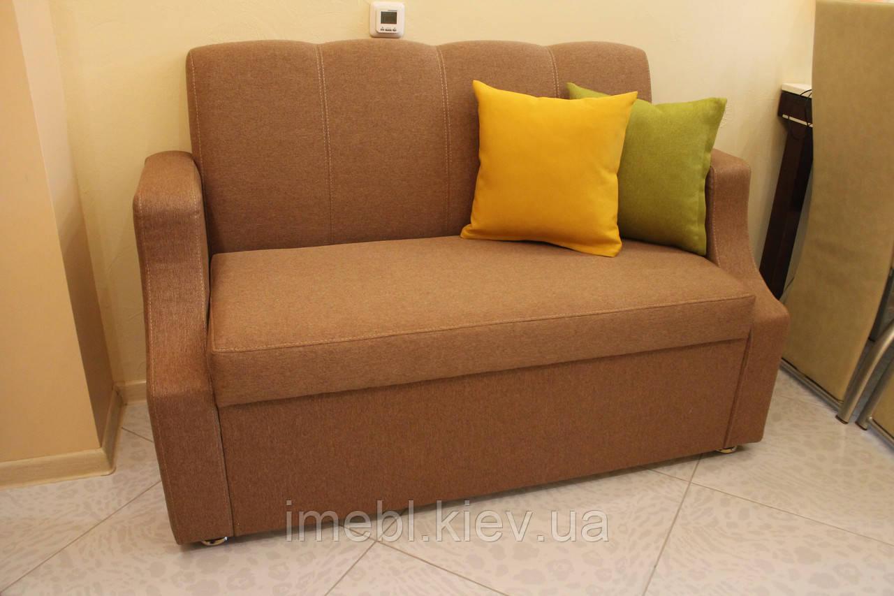 Кухонная мягкая лавка в ткани коричневого цвета