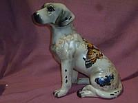 Собака с бабочками большая статуэтка фигурка керамическая 24,5 см
