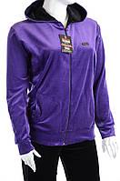 Велюровый спортивный костюм однотонный верх К100 5XL, Фиолетовый