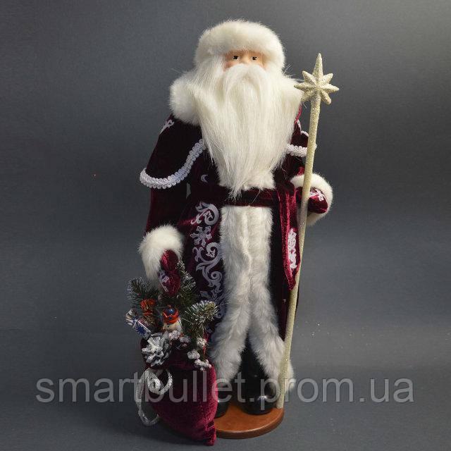 Дед Мороз 53 см с белым посохом 0455