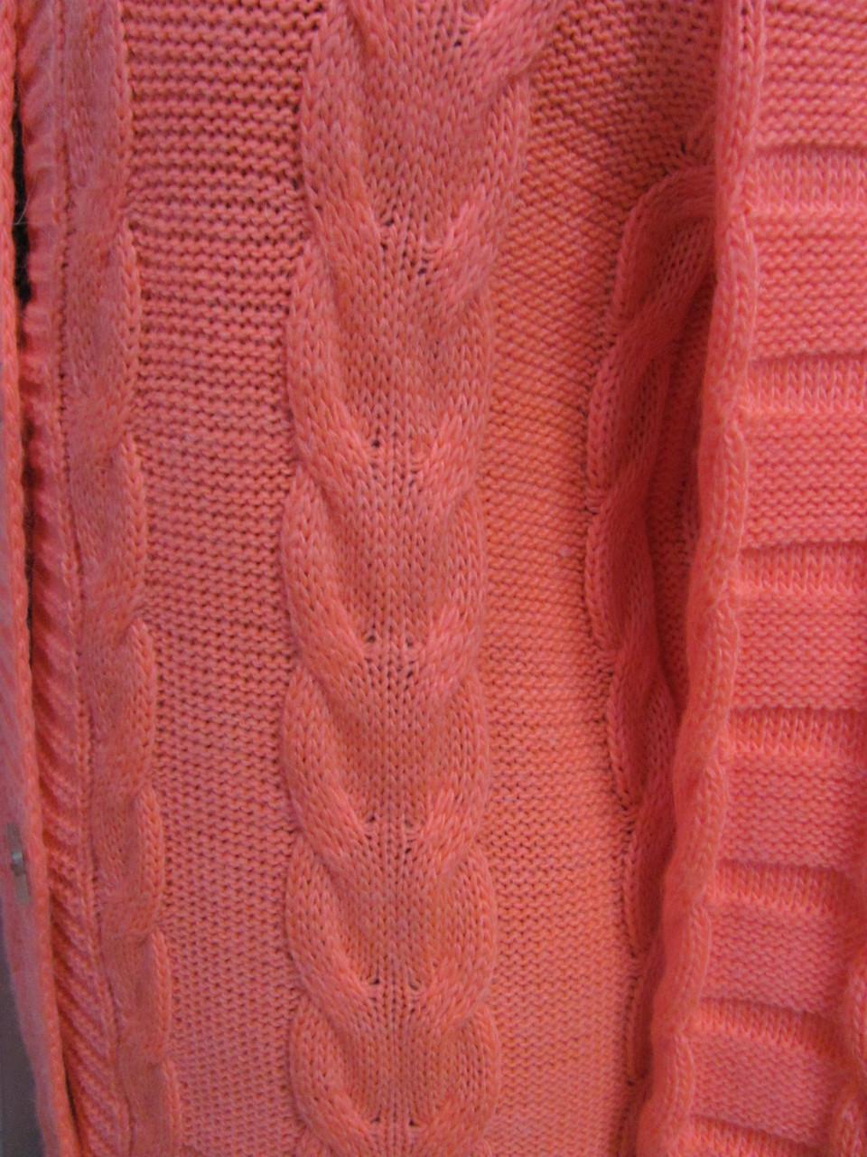 кардиган теплый вязаный на пуговицах воротник стойка размер 42 46
