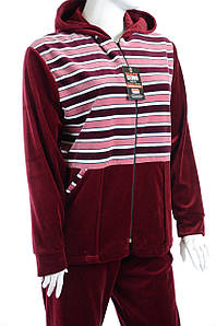 Велюровый женски спортивный костюм бордо K107