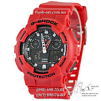 Мужские наручные часы Casio G-Shock AAA GA-100 Red-Black Autolight