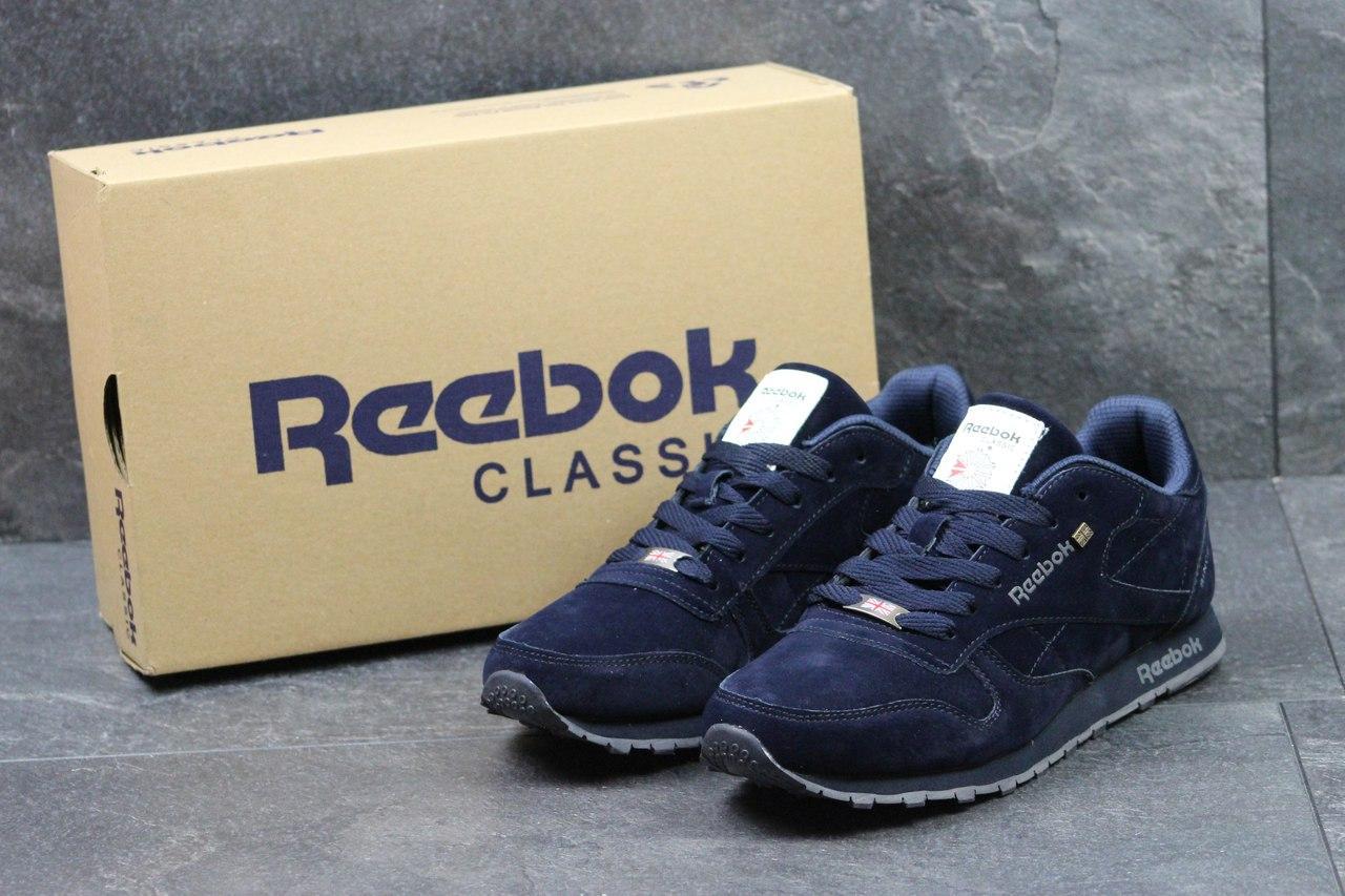 Мужские кроссовки Reebok Classic Leather since 1983,темно синие 46р