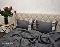 """Комплект из 100% льна """"Scandinavica Grafit"""", вышивка ручной работы, фото 1"""