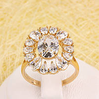 R1-2793 - Позолоченное кольцо с прозрачными фианитами, 19.5 р
