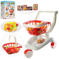 Тележка XG2007 (6шт) супермаркет, 2в1 (корзинка), продукты, 18 предметов, в кор-ке, 44-33-23,5см