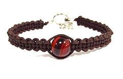 Кожаный плетёный браслет с Сардониксом