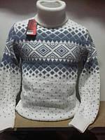 Мужской теплый новогодний свитер с орнаментом №073