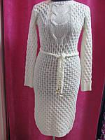 Платье женское вязанное, длинный рукав, хорошая длина, поясок в комплекте, зимнее, р.УН (42-46), код 2421М
