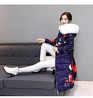 Синяя абстракция женское зимнее пальто пуховик парка с принтом и Капюшон с мехом Замеры в описании!