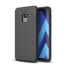 Чехол накладка силиконовый TPU Litchi Grain для Samsung Galaxy A7 2018 черный
