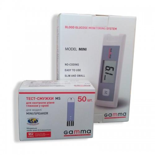 Глюкометр Gamma Mini (Гамма Мини) + тест-полоски GAMMA MS №50 (50 шт.)