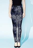 Женские узкие брюки синего цвета с леопардовым принтом. Модель Helena Zaps, коллекция осень-зима 2015