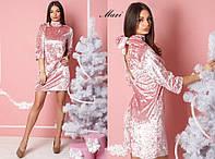 Платье из бархата с бантом сзади розовый, беж, серый, зелёный и марсала