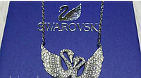Подвеска двойные лебеди серебро 925 пробы