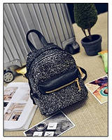 Женский рюкзак черный из экокожи симпатичный с блестками, фото 1