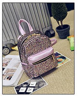 Жіночий рюкзак стильний рожевий з блискітками з екошкіри, фото 1