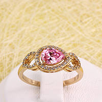 R1-2817 - Каблучка з золотим покриттям та розовим та прозорими фіанітами, 19.5 р