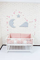 """Постельный комплект для новорожденных с цельными бортиками-защитой """"Peach"""""""