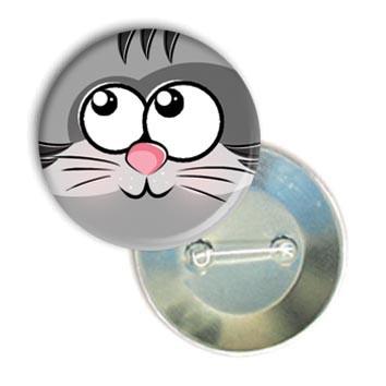 """Закатной круглый значок - смайл """"Задумчивый котик"""""""