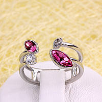 R13-0027 - Кольцо Swarovski Marquise Crystal Rose родий, 16.5-17, 17.5-18 р