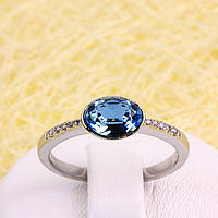 011-0030 - Каблучка з родованим покриттям та кристалами Swarovski Oval Aquamarine Crystal, 19 р.