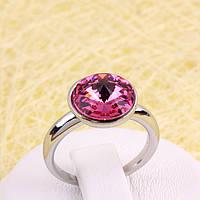 011-0031 - Каблучка з родованим покриттям та кристалом Swarovski Rivoli Crystal Rose, 17.5 р.