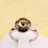 011-0037 - Кольцо с кристаллом Swarovski Rivoli Crystal Golden Shadow родий, 18 р.