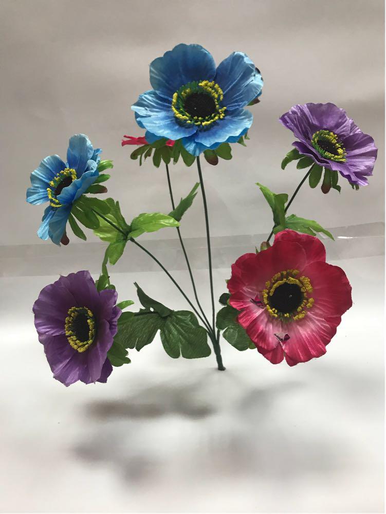 Искусственные цветы.Искусственный букет мак разноцветный.