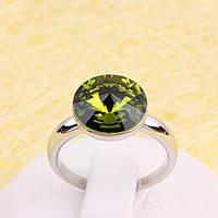 011-0038 - Кольцо с кристаллом Swarovski Rivoli Crystal Olivine родий, 18, 19 р.