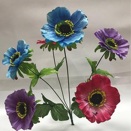 Искусственные цветы.Искусственный букет мак разноцветный., фото 2