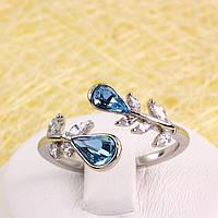 R13-0043 - Кольцо Swarovski Drop Aquamarine Crystal родий, 18.5-19 р