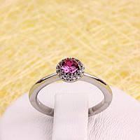 011-0047 - Кольцо с кристаллом Swarovski Rose Crystal Rose и прозрачными фианитами родий, 16, 17 р.