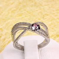 011-0049 - Кольцо Swarovski Rose Crystal Vintage Rose и прозрачными фианитами родий, 17.5 р.