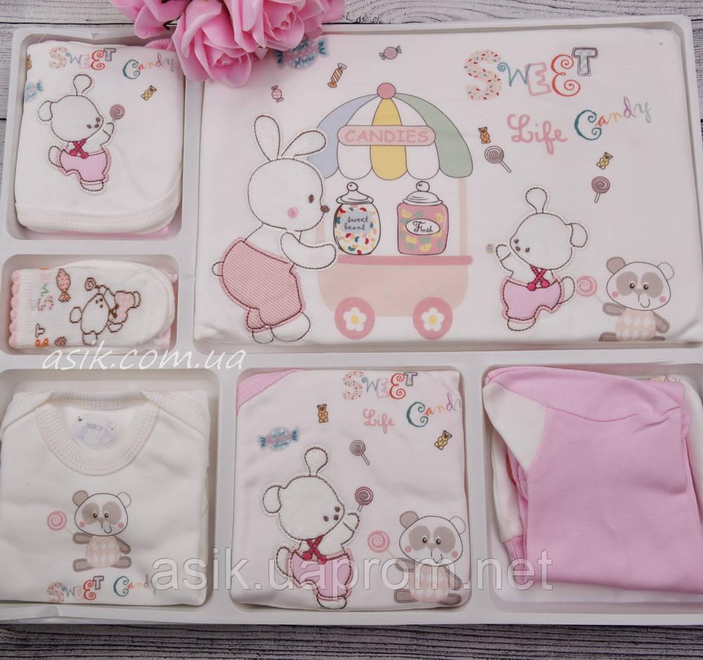 """Трикотажный набор для новорождённого """"Сладости"""" 10 предметов"""