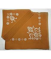 Вышитая бежевая скатерть и салфетки 6 шт. (белая вышивка)