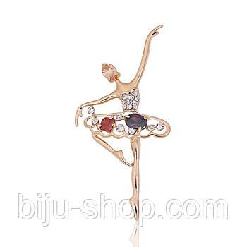 Брошка Балерина, позолота 14К