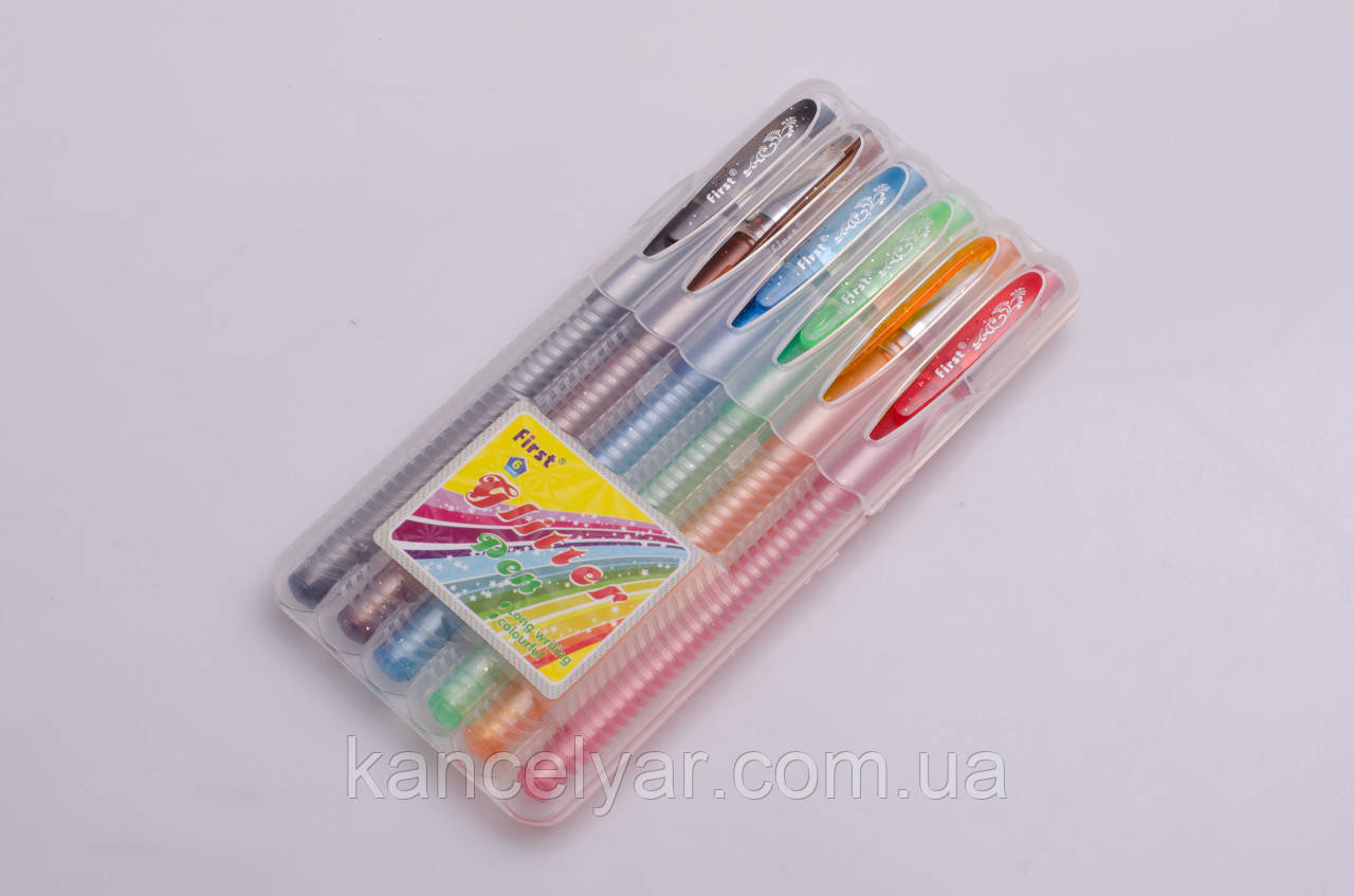 Набір ручок гелевих з блиском, 6 кольорів