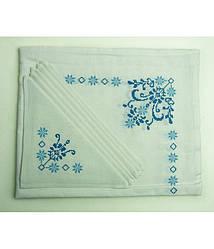Вышитая белая скатерть и салфетки 6 шт. (сине-голубая вышивка)